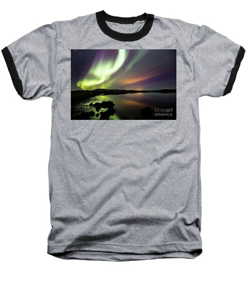 Aurora Borealis Over Thinvellir Baseball T-Shirt