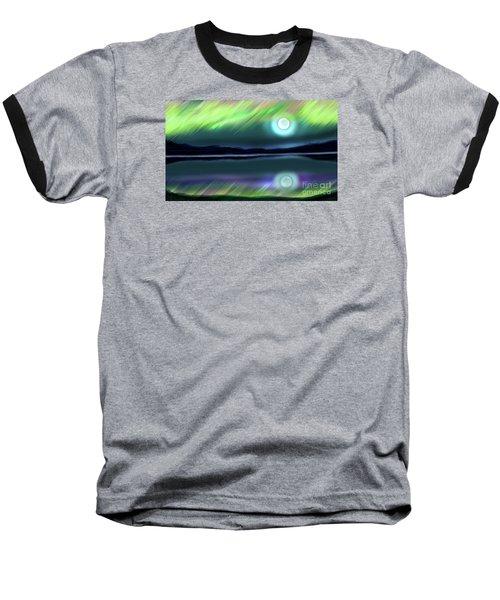Aurora Moon Lake Baseball T-Shirt by Patricia L Davidson