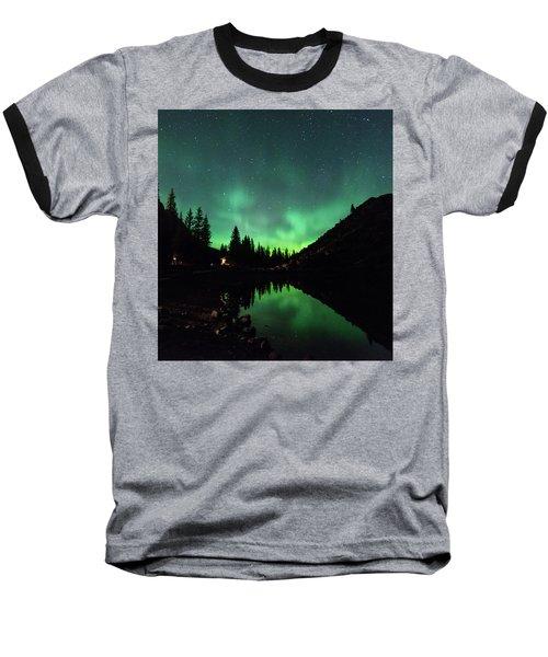 Aurora On Moraine Lake Baseball T-Shirt by Alex Lapidus