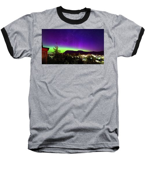 Aurora Over Mt Wellington, Hobart Baseball T-Shirt by Odille Esmonde-Morgan