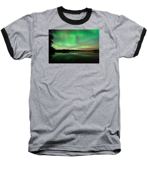 Aurora Over Tofte Lake Baseball T-Shirt by Larry Ricker