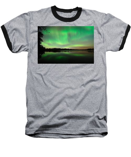 Aurora Over Tofte Lake Baseball T-Shirt
