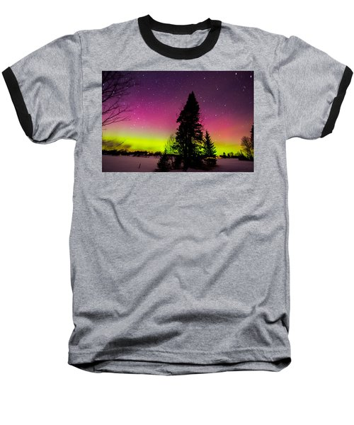 Aurora With Spruce Tree Baseball T-Shirt