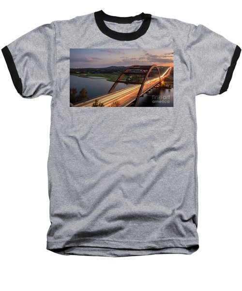 Austin 360 Bridge At Night Baseball T-Shirt