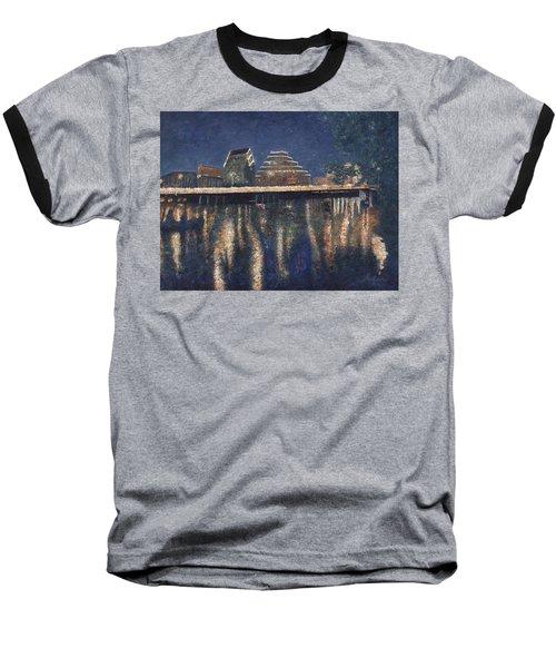 Austin At Night Baseball T-Shirt by Felipe Adan Lerma