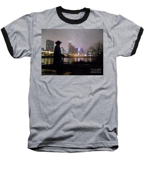 Austin Hike And Bike Trail - Iconic Austin Statue Stevie Ray Vaughn - One Baseball T-Shirt by Felipe Adan Lerma
