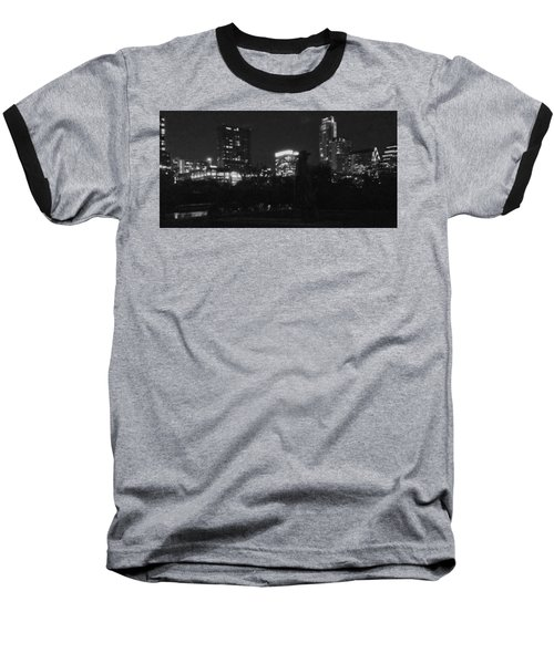 Austin Hike And Bike Trail - Srv Gritty Austin Night Panorama Baseball T-Shirt