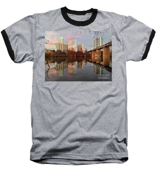 Austin Hike And Bike Trail - Train Trestle 1 Sunset Triptych Left Baseball T-Shirt by Felipe Adan Lerma