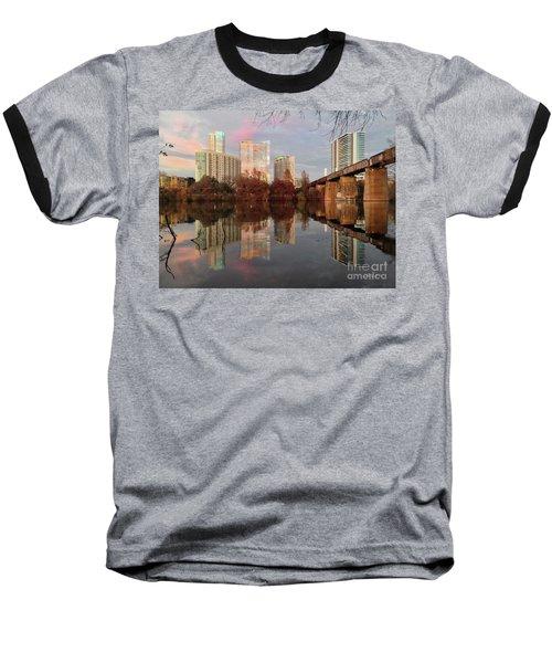Austin Hike And Bike Trail - Train Trestle 1 Sunset Triptych Left Baseball T-Shirt
