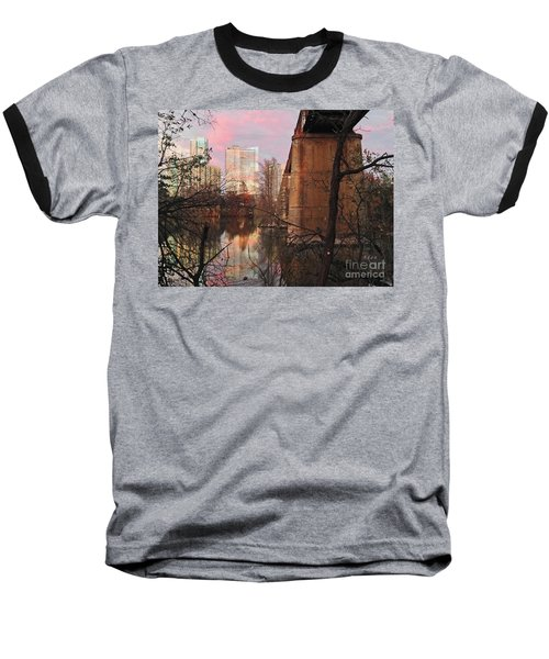 Austin Hike And Bike Trail - Train Trestle 1 Sunset Triptych Middle Baseball T-Shirt by Felipe Adan Lerma