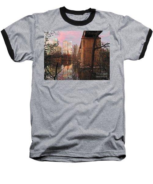 Austin Hike And Bike Trail - Train Trestle 1 Sunset Triptych Middle Baseball T-Shirt