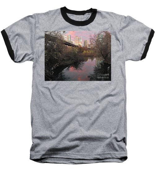 Austin Hike And Bike Trail - Train Trestle 1 Sunset Triptych Right Baseball T-Shirt by Felipe Adan Lerma