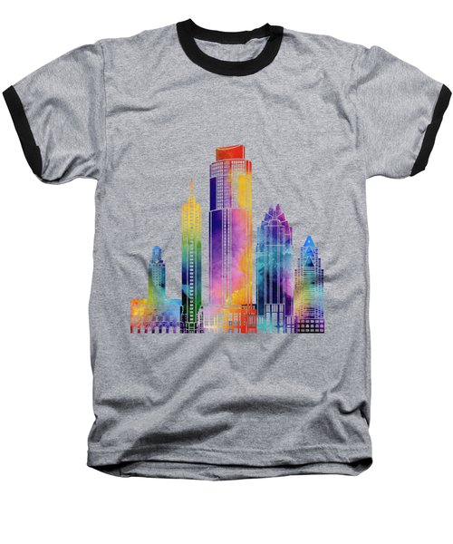 Austin Landmarks Watercolor Poster Baseball T-Shirt by Pablo Romero
