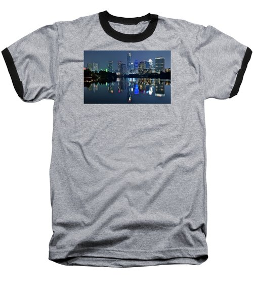 Austin Night Reflection Baseball T-Shirt by Frozen in Time Fine Art Photography