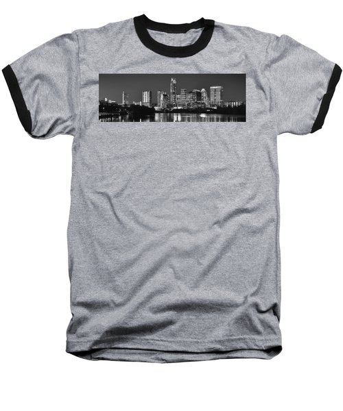 Austin Skyline At Night Black And White Bw Panorama Texas Baseball T-Shirt by Jon Holiday