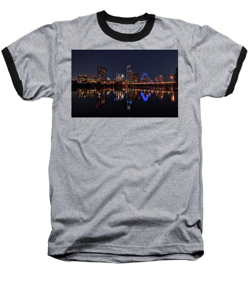 Austin Skyline At Night Baseball T-Shirt