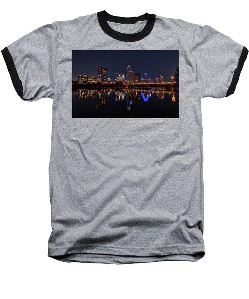 Austin Skyline At Night Baseball T-Shirt