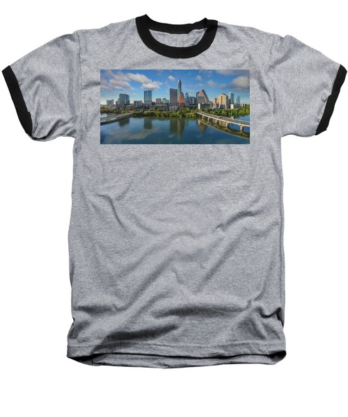 Austin Skyline Panorama Spring Afternoon 7-1 Baseball T-Shirt by Rob Greebon