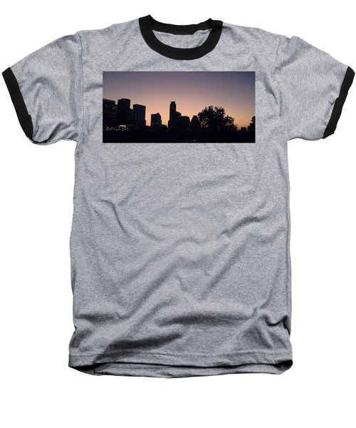 Austin Skyline Sunrise Into A Crescent Moon Panorma Baseball T-Shirt