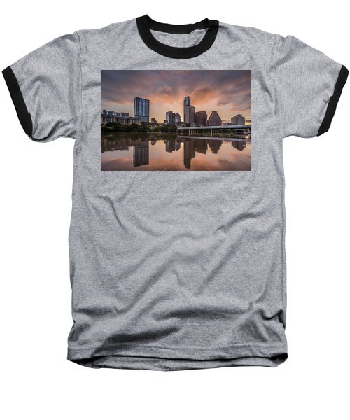Austin Skyline Sunrise Reflection Baseball T-Shirt by Todd Aaron