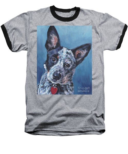 Baseball T-Shirt featuring the painting Australian Cattle Dog by Lee Ann Shepard