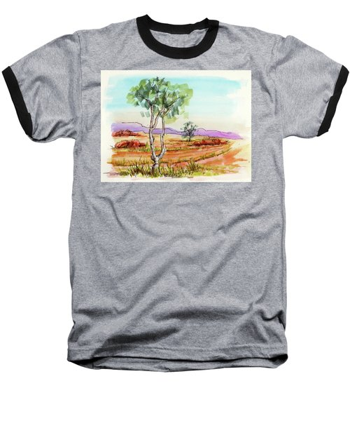 Baseball T-Shirt featuring the painting Australian Landscape Sketch by Margaret Stockdale
