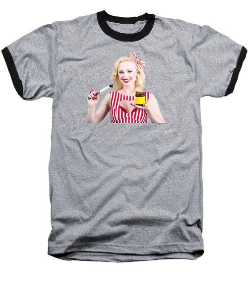 Australian Pinup Woman Holding Sandwich Spread Baseball T-Shirt