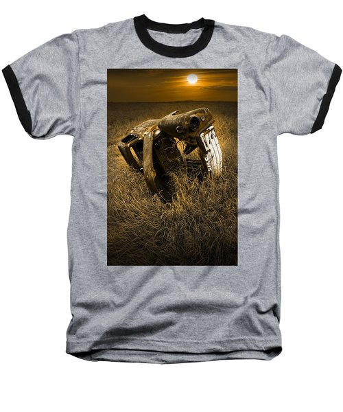 Auto Wreck In A Grassy Field On The Prairie At Sunset Baseball T-Shirt