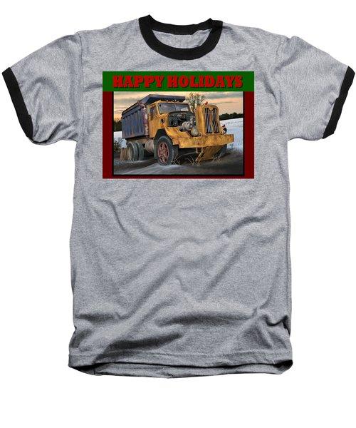 Autocar Happy Holidays Baseball T-Shirt by Stuart Swartz