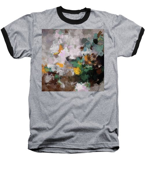Autumn Abstract Painting Baseball T-Shirt by Ayse Deniz