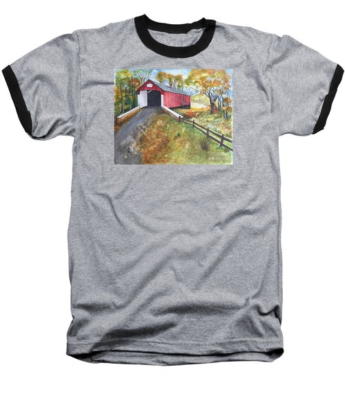 Baseball T-Shirt featuring the painting Autumn Afternoon At Knechts Covered Bridge by Lucia Grilletto