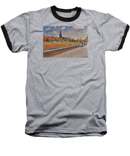 Baseball T-Shirt featuring the painting Autumn Along The Griend by Nop Briex