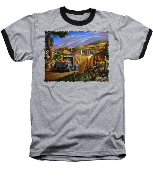 Autumn Appalachia Thanksgiving Pumpkins Rural Country Farm Landscape - Folk Art - Fall Rustic Baseball T-Shirt by Walt Curlee