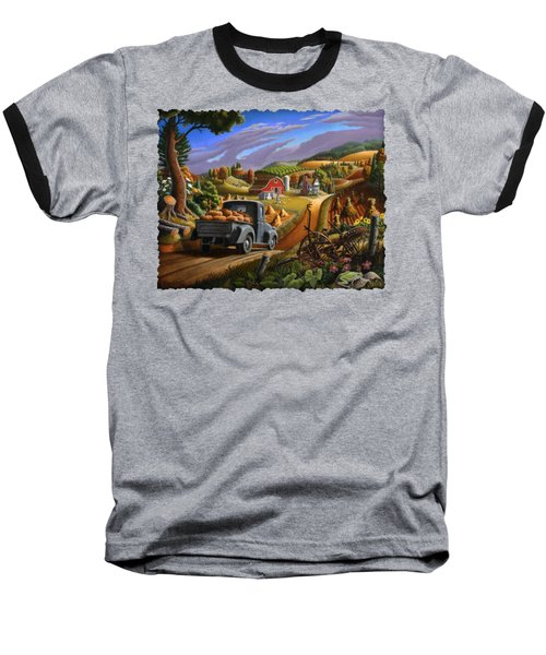 Autumn Appalachia Thanksgiving Pumpkins Rural Country Farm Landscape - Folk Art - Fall Rustic Baseball T-Shirt