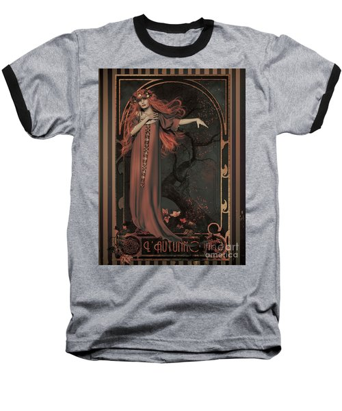 Baseball T-Shirt featuring the digital art Autumn Art Nouveau  by Shanina Conway