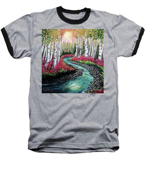 Autumn Aspen River Sunrise Baseball T-Shirt