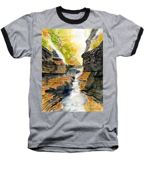 Autumn At Rainbow Falls  Baseball T-Shirt by Melly Terpening
