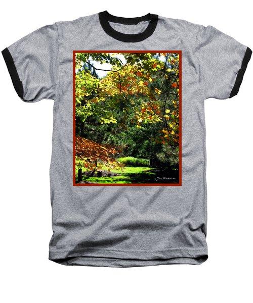 Baseball T-Shirt featuring the photograph Autumn Backyard by Joan  Minchak