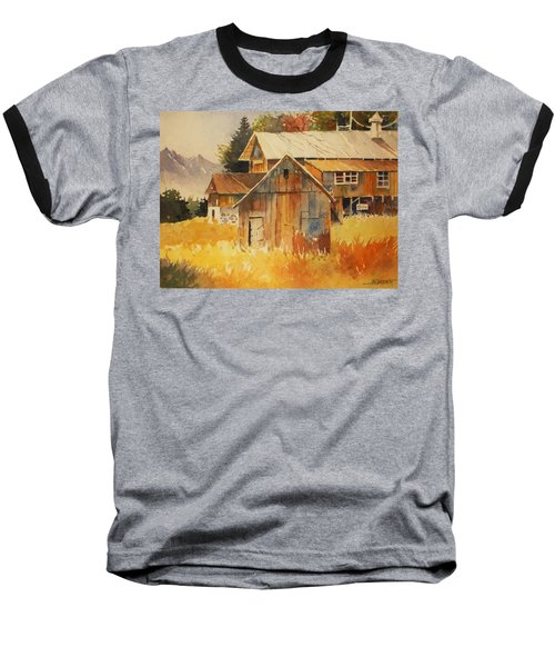 Autumn Barn And Sheds Baseball T-Shirt by Al Brown