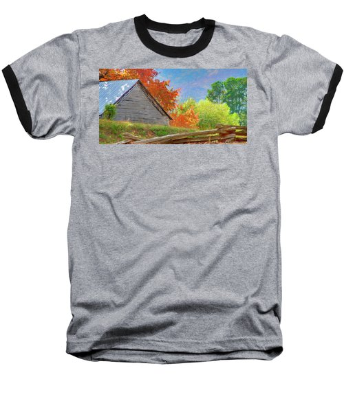Autumn Barn Digital Watercolor Baseball T-Shirt