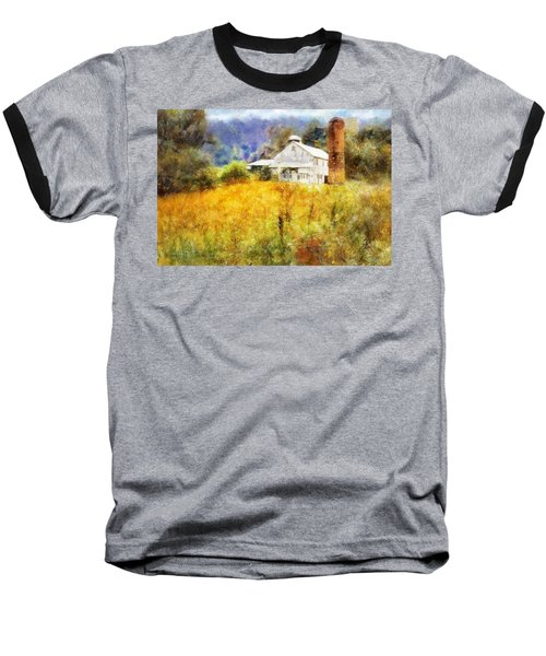 Baseball T-Shirt featuring the digital art Autumn Barn In The Morning by Francesa Miller