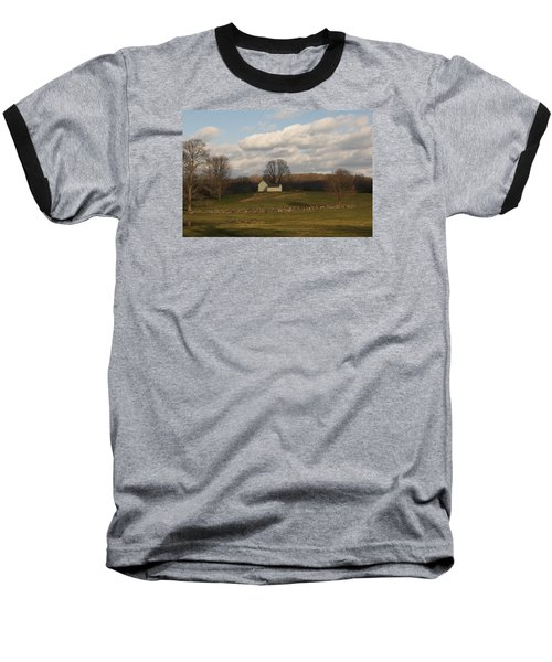 Autumn Barn On The Meadow Baseball T-Shirt by Margie Avellino