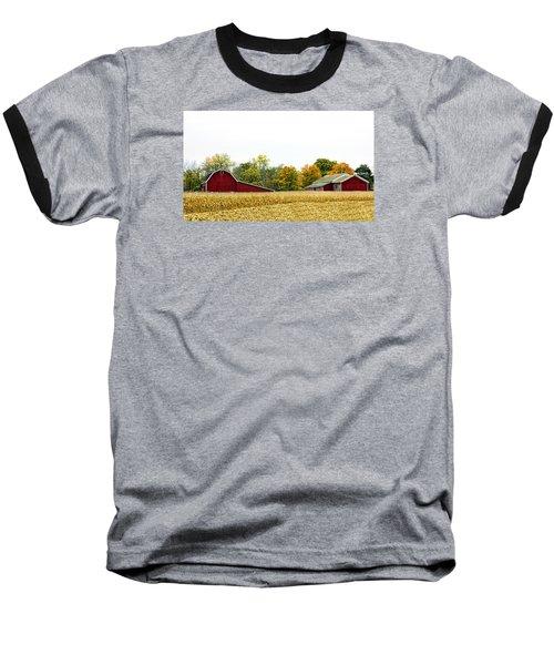 Autumn Barns Baseball T-Shirt by Pat Cook