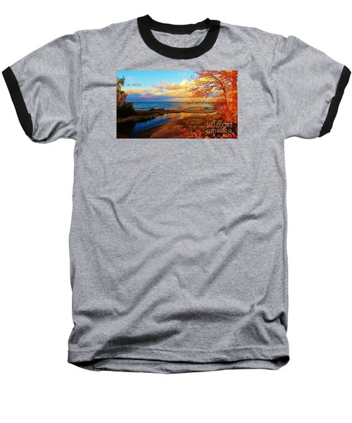 Autumn Beauty Lake Ontario Ny Baseball T-Shirt by Judy Via-Wolff