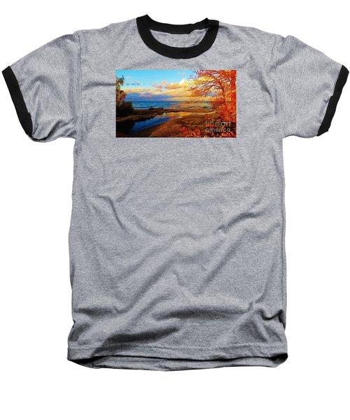 Baseball T-Shirt featuring the photograph Autumn Beauty Lake Ontario Ny by Judy Via-Wolff
