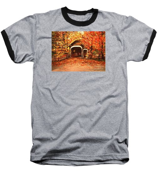 Baseball T-Shirt featuring the painting Autumn Bike Ride by Patricia L Davidson