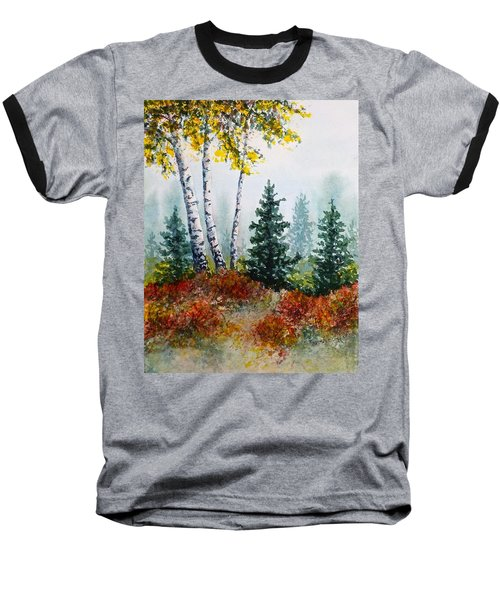 Baseball T-Shirt featuring the painting Autumn Birch by Carolyn Rosenberger