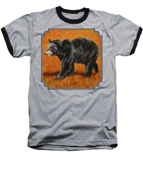 Autumn Black Bear Baseball T-Shirt by Crista Forest
