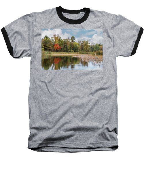 Autumn Blue Heron Baseball T-Shirt