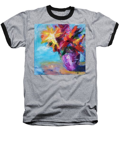 Baseball T-Shirt featuring the painting Colorful Flowers  by Yulia Kazansky